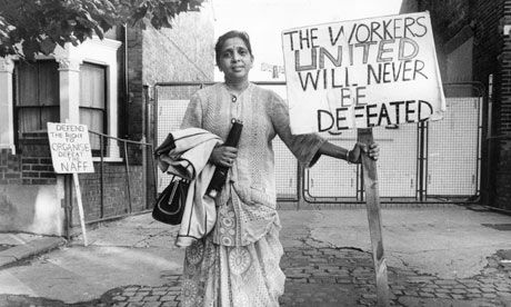 Jayaben Desai passed away recently at age 77, leaving an extraordinary legacy in labor history. With a handbag in one hand and a bullhorn in the other, she led a two-year strike in the mid-1970s protesting the unequal pay and poor treatment of workers at a North London Grunwick film processing factory.