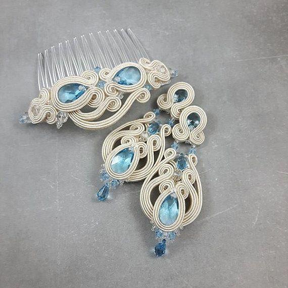Set di gioielli da sposa blu acquamarina di byPiLLowDesign su Etsy