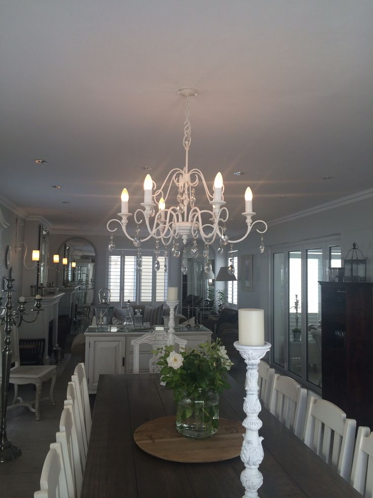 Our Laubagne 6 arm chandelier in French White.