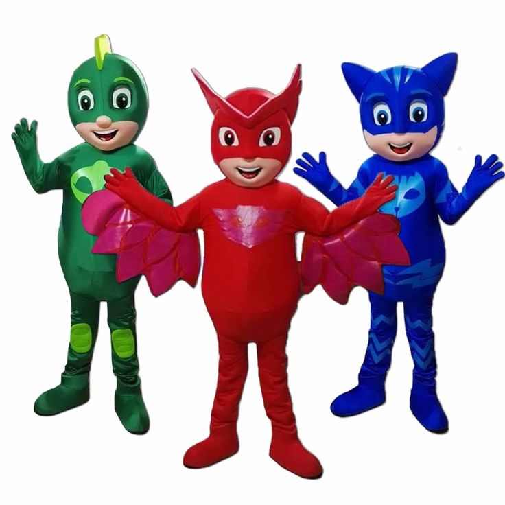 Hot Sale For PJ Mas Red Blue Green Owlette Adult Mascot Costume Party Clothing Fancy Dress