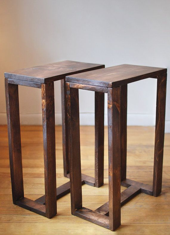 Pair Of Thin Side Tables, End Tables, Nightstands, Pedestal, Plant Stands  Made From Reclaimed Wood  Dark Walnut