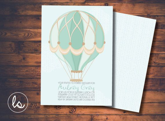Baby Blue Hot Air Balloon Baby Shower Invitation ~ DIY PRINTABLE ~ Professional Printing with envelopes and postage