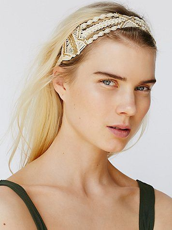 Macrame Shimmer Headband | Macrame headband with subtle shimmering rhinestone accents throughout. Elastic band at the back for a comfortable fit.
