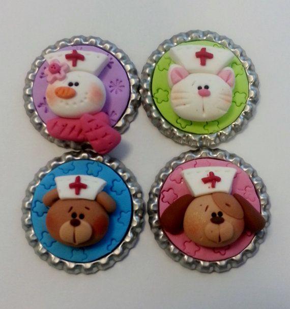 Nurse Polymer Clay Bottle Cap Bead, Scrapbooking, Bow Center, Pendant, Cupcake…