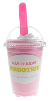 This baby bib smoothie is a fun and practical gift for a baby girl. It contains a set of 2 pull-over baby bibs made of 100% cotton - one in pale pink and one white. The smoothie comes complete with matching baby spoon, and presented in a fun smoothie cup. A great, unique gift for a baby girl.