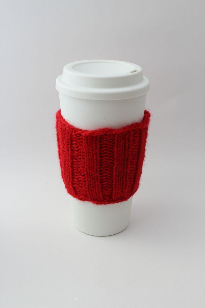 Knitted Coffee Cup Cozy Pattern | Tejidos | Pinterest | Croché ...