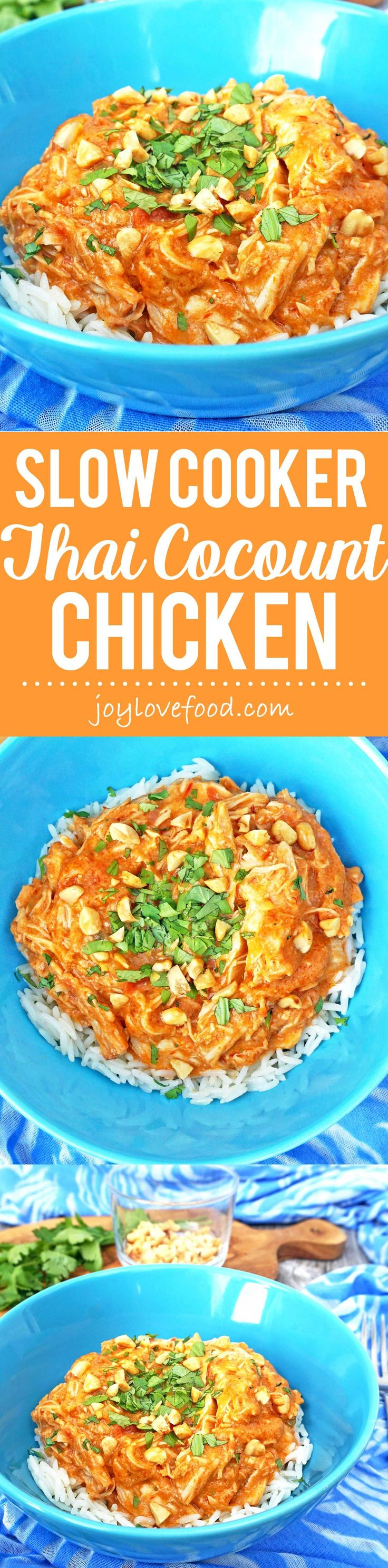 Chicken becomes fall apart tender when simmered for hours in a fragrant Thai inspired coconut and peanut sauce. Serve over rice for a delicious meal the whole family will enjoy.