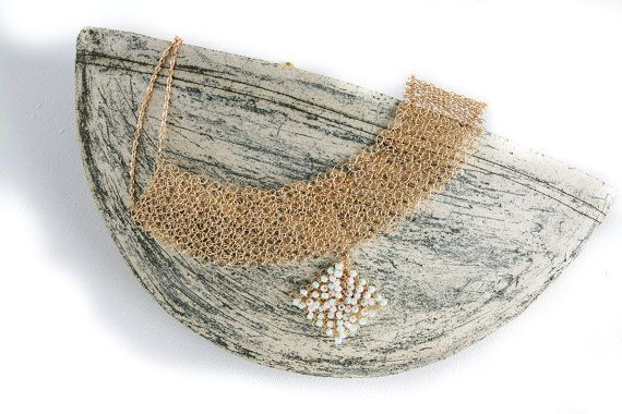 Bib #Necklace, Beaded Necklace, Gold Necklace, Chunky Necklace, Statement Necklace, Wire #Crochet Necklace, collar necklace:  Perfect wire crochet necklace with a square croc... #handmade #jewelry #boho #etsy #epiconetsy #shopping #shopsmall #jewelryonetsy #etsyseller