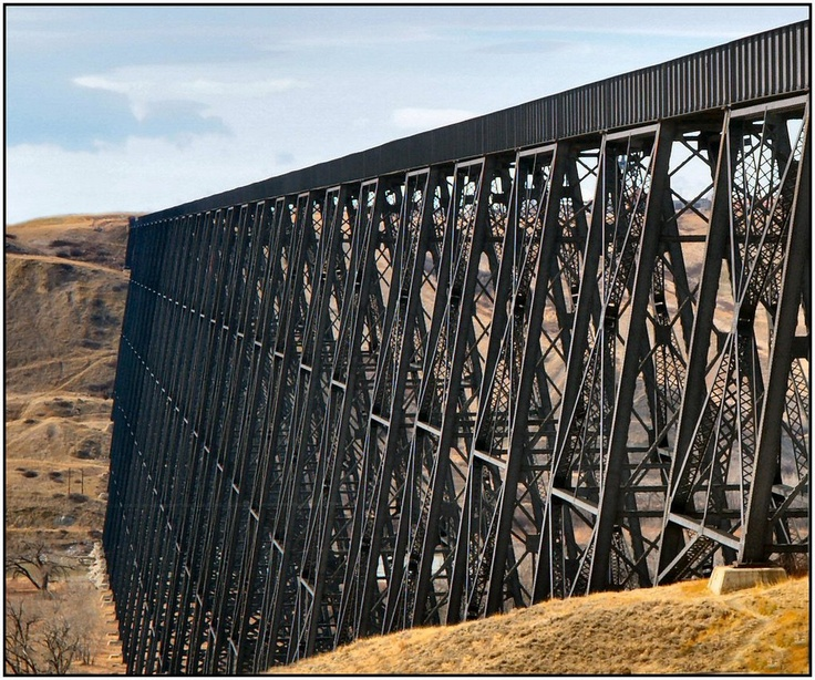 Railroad trestle bridge in Lethbridge, Alberta, Canada