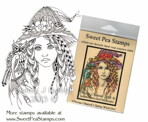 Spring Witch & Owl - Stamp available at: http://www.sweetpeastamps.com/category_195/3/Norma-J-Burnells-Fairy-Tangles-Art-Collection.htm