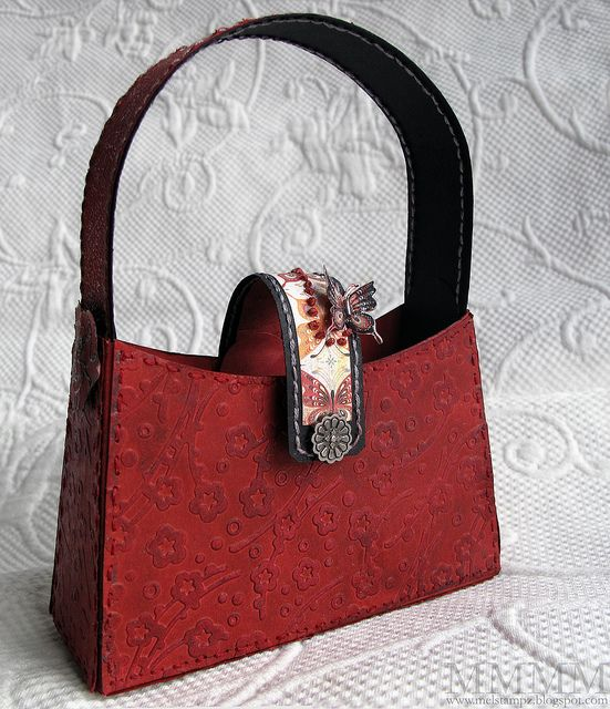 red crayon rubbed embossing purse by mel stampz by melstampz, via Flickr