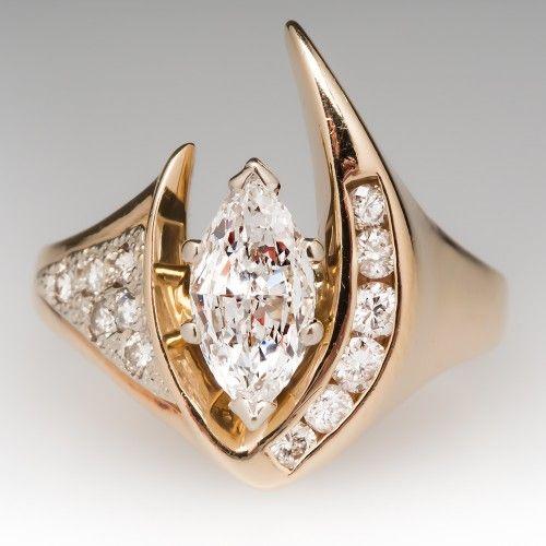 Unique .70 Carat Marquise Diamond Ring w/ Accents 14K