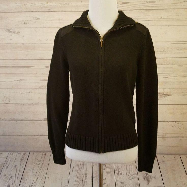Lauren Ralph Lauren Petite Womens Size Small Petite Black Zip Up Cardigan #LaurenRalphLauren #Cardigan