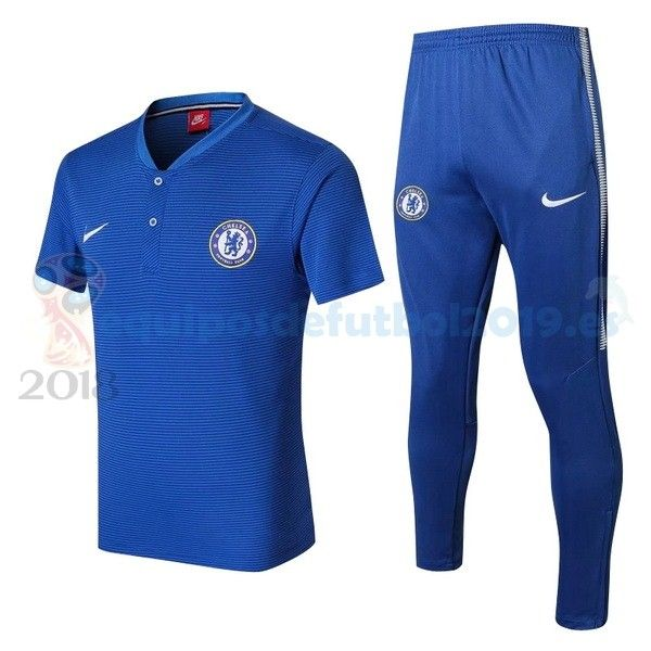 Camisetas De Futbol POLO  Equipos De Futbol Baratas 2018 - Futbol  Originales Conjunto Completo Polo Chelsea 2017 2018 Azul ea15b5ac89797