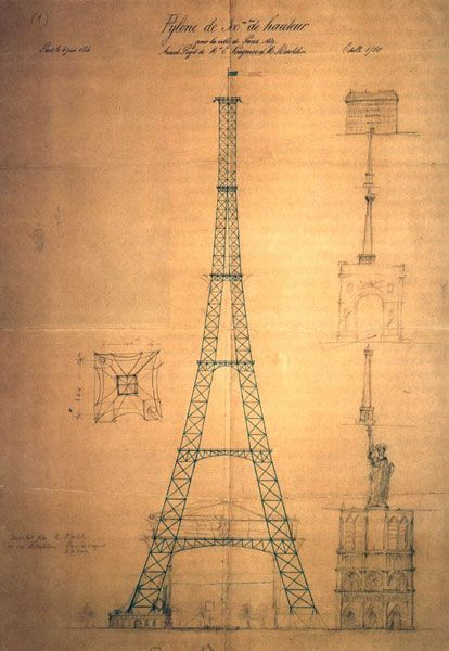First design of Eiffel tower by Maurice Koechlin in 1884. Notice a sketch of Satue of Liberty placed at the Notre Dame.