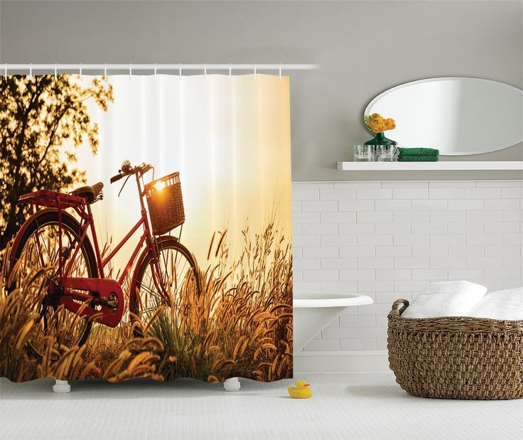 Ambesonne Countryside Decor Collection, Retro Style Bike In Sepia Tones And  Romantic Sunset Picture, · Shower Curtain SetsBathroom ...