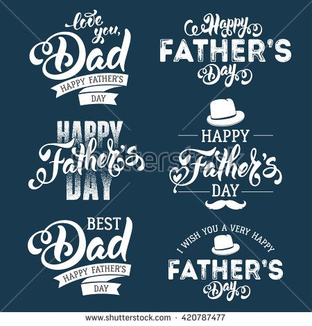 Fathers Day Lettering Calligraphic Emblems, Badges Set. Isolated on Dark Blue. H...