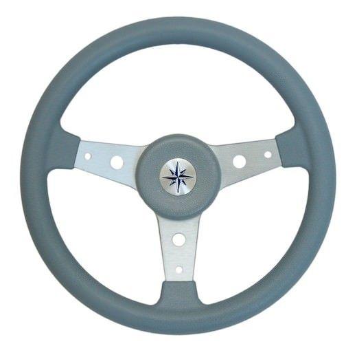 Рулевое колесо DELFINO обод серый,спицы серебряные д. 340 мм  Общий диаметр:                                      340 мм