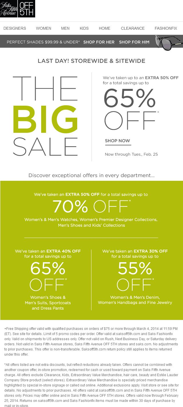 Pinned February 25th: 50-70% off #sale going on today at Saks Fifth Avenue OFF 5TH, ditto online #coupon via The Coupons App