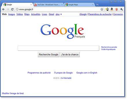 Interface utilisateur de Google Chrome