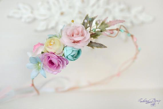 Pastel Flower crown Cream lilac head piece Floral bridal crown Flower Girl spring wedding head wreath crystal flowers hair dress mint pink  Ready to ship  This is delicate asymmetrical crown for a flower girl or bridesmaids. Сream, pink, peach and lilac, mint shades with clear crystal and different beads,leaves with the color gradient. It looks elegant.  Wreaths size is controlled by the satin ribbon. You can choose any other color ribbon on request. Each element is woven into the wreath…