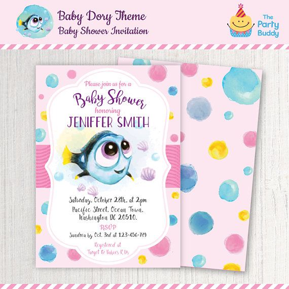 Finding Dory Girls Baby Shower Invitation Baby Dory On The Way by ThePartyBuddy  #invitation #babydory #findingdory #babyshower #dory #nemo
