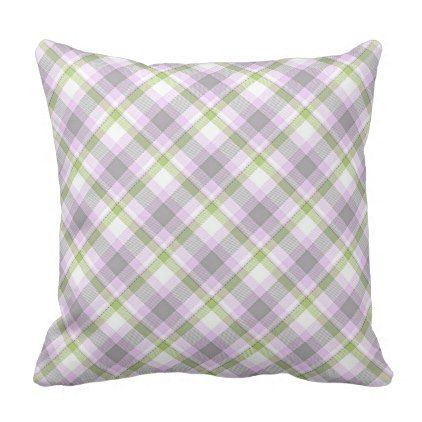 Pink Violet Purple Lime Green White Tartan Plaid Throw Pillow - fun gifts funny diy customize personal