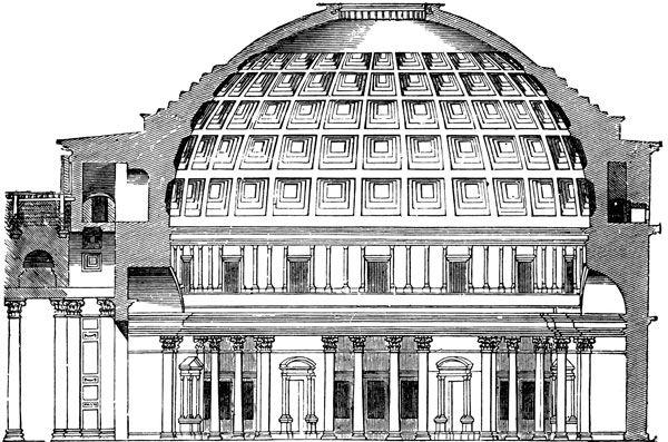 Вход в храм подчеркивает портик из шестнадцати гранитных коринфских колон. Попасть в храм можно через римский портал, датированный римской эпохой. Стены, на которых держится купол, изнутри облицованы мрамором и разделены на 2 яруса. Нижний ярус в свою очередь разбит на 7 одинаковых ниш, для облегчения конструкции.