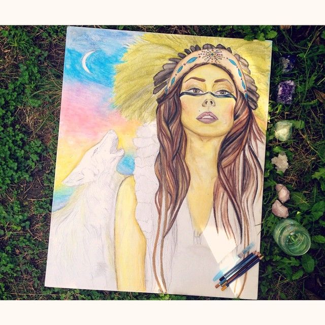 In the zone.  #painting #wip #workinprogress #artist #art #watercolor #drawing #native #wolf #moon #nature #crystals #watercolorpencils #fashionillustration #rosequartz #aventurine #amethyst #sodalite #clearquartz #fashionillustrator #boho #bohemian #gypsy #alluramaison #potd #picoftheday #artoftheday #goodvibes #nativeamerican #nochella