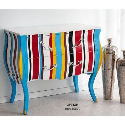 Commode rayures multicolores 2 tiroirs                                                                                                                                                                                 Plus