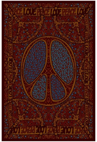 Peace Love 60's Tapestry 60x90 Inches $25.00