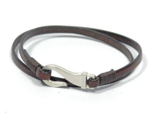 fish hook leather bracelet, boys surfer bracelet, mens wrap leather bracelet, nautical jewelry, gift for dad, gift for boyfriend