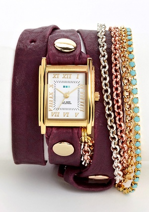 LA MER COLLECTIONS Triple Wrap Chain & Crystal Watch
