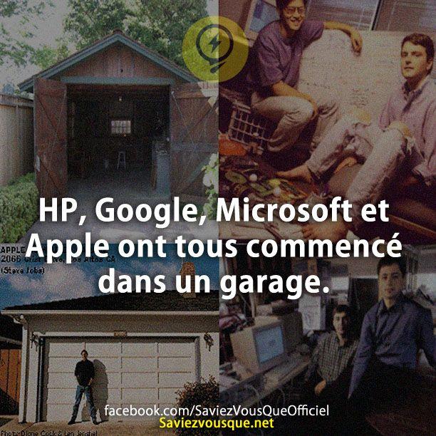 Hp google microsoft et apple ont tous commenc dans un for Garage pour tous