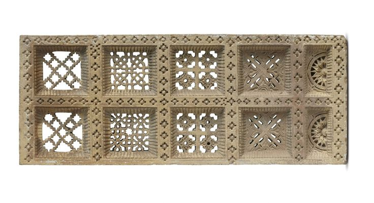Such standstone screens are common features in windows, jharokhas and balconies of secular architecture of 19th century Rajasthan, Gujarat and Punjab. In the context of Rajasthan, such screens were usually affixed to the windows, serving to secure the opening and allowing ventilation without encouraging dust accumulation.This is seen in the area around the artwork Touche by #RajeevSethi.