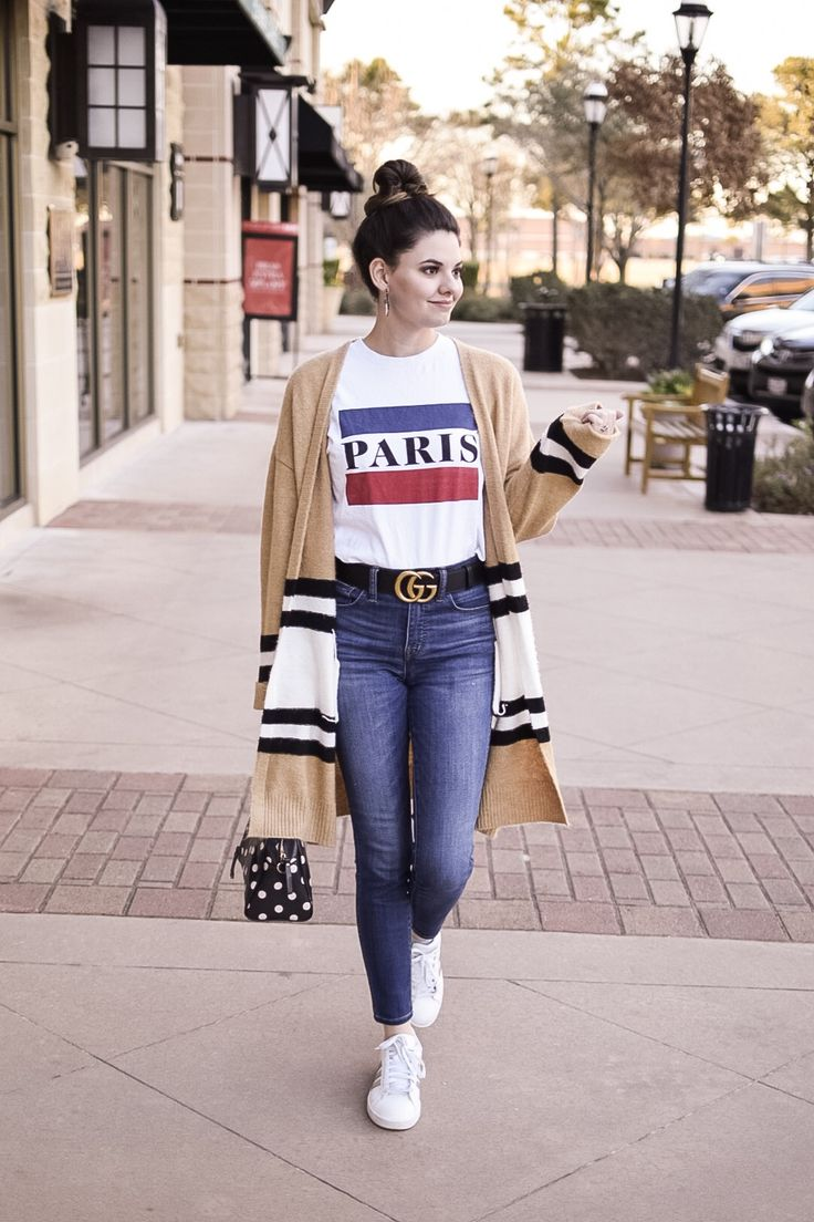 #paris #casual #graphictee #outfit #cardigan #gucci
