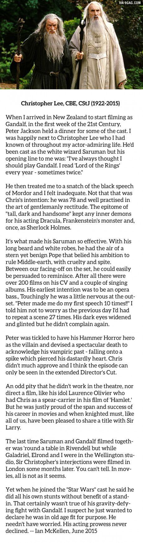 Sir Ian McKellen on Christopher Lee