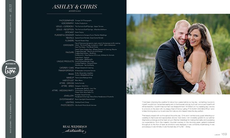 Published in Luxe Magazine an Elegant Banff Springs Wedding Ashley  and  Chris - Tweed Telegraph
