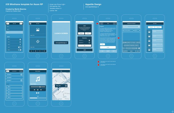 Axure Ios Templates Blueprint Style Wireframe Template Wireframe Website Wireframe Templates