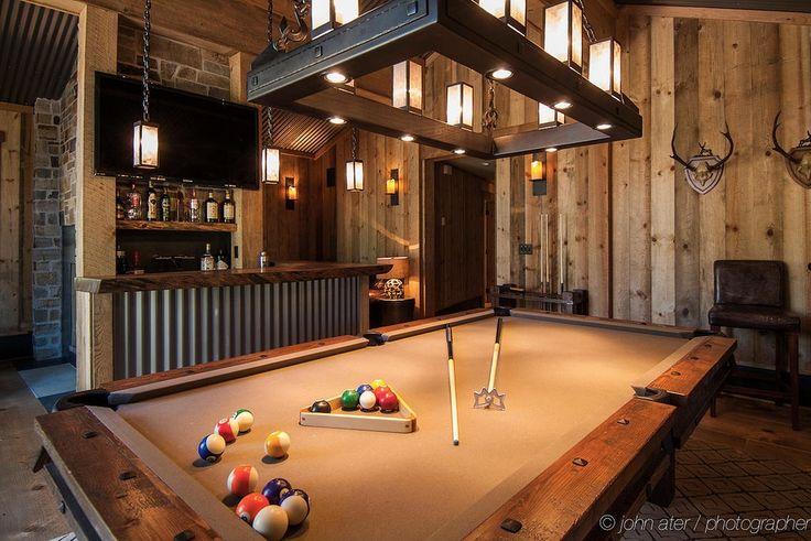 Rustic Game Room with Kichler Portman 1 Light Foyer Pendant, Carpet, Hardwood floors, High ceiling, Chandelier