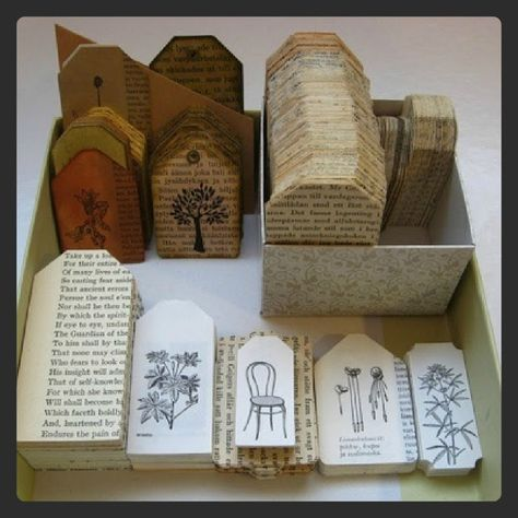 Old books used as gift tags for Christmas