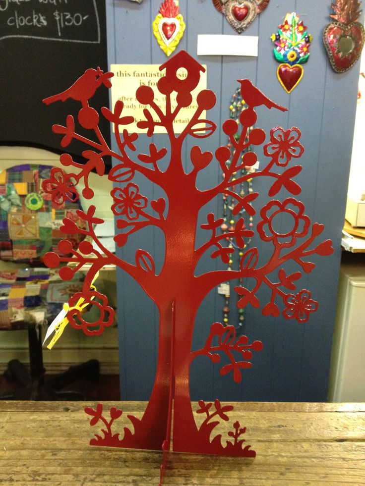 Whimsical red metal tree - perfect for keeping all those dangly earrings organised and looking fabulous...
