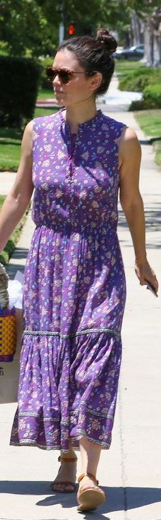 Who made  Rachel Bilson's purple print dress?