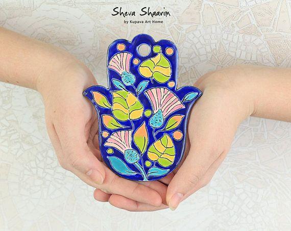 Blue Hamsa hand Flower ceramic art hand of Fatima wall decor