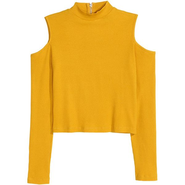 Ribbed cold shoulder top OR 7.900 (800 PHP) ❤ liked on Polyvore featuring tops, sweaters, cut-out shoulder tops, zip sweater, yellow crop top, yellow sweater and cut out shoulder sweater