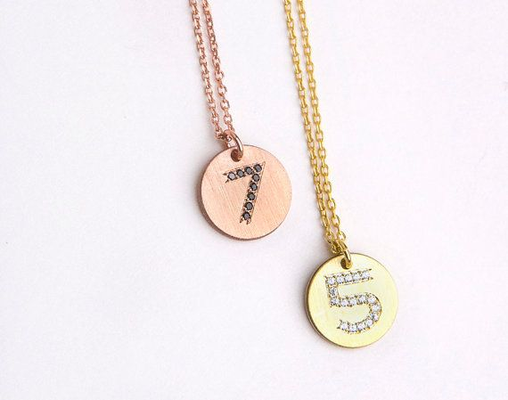 Silver number disc necklace Favourite number by elegantjewelbox, $29.00