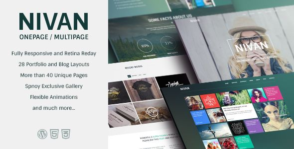 Nivan - One Page / Multi Page WordPress Theme   http://themeforest.net/item/nivan-one-page-multi-page-wordpress-theme/7156931?ref=damiamio            Nivan, a Fresh and refreshing choice for all kinds of the Agencies & Corporate workers out there. It is a perfect choice for Artists, Creative Agencies, Collectors and the ones who need to showcase their work in a beautiful yet elegant way.   It's magnificent design and yet flexible effects and settings let you to take the most out of your…