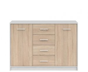 KOM2D4S NEPO BRW dresser. 2-door sideboard with four drawers. Modern design. Minimalist form. Three colour options. Hinges with integrated dampers ensure the doors close slowly, silently and softly. Polish Brw Modern Furniture Store in London, United Kingdom #furniture #polish #brw #dresser #cabinet