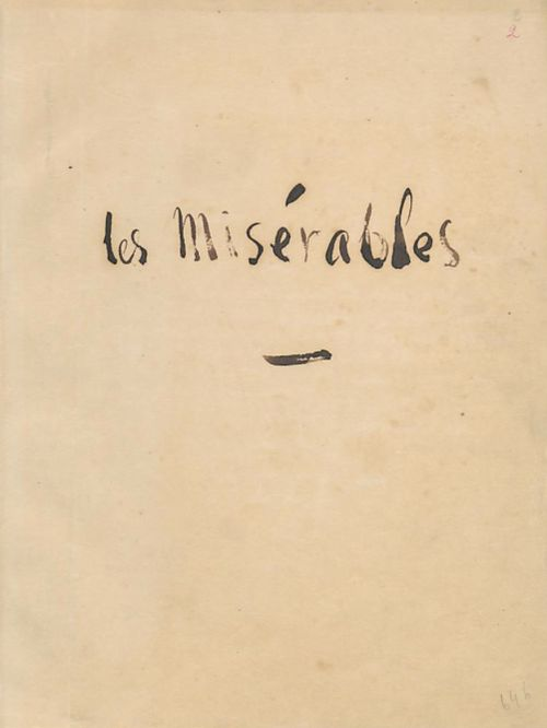 Title page of the original, written copy of Les Misérables by Victor Hugo.