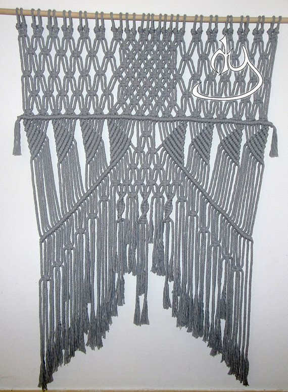 Macrame Gray Cotton Wall Hanging by HandyManiaDesigns on Etsy